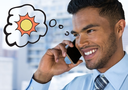 Digital composite of Close up of business man on phone thinking of sun against blurry building Stock Photo
