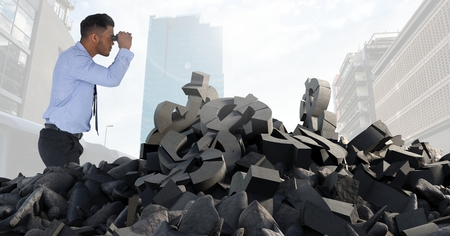 innumerable: Digital composite of Broken concrete stone with money symbol and businessman with binoculaurs in cityscape