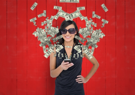 Digital composite of texting money. woman with rich appearance with phone. Money coming up from phone