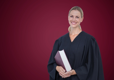 gray texture: Digital composite of Female judge with book against maroon background