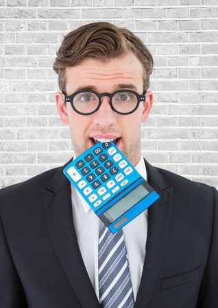 smartphone: Digital composite of Close up of nerd man with blue calculator in mouth against white brick wall