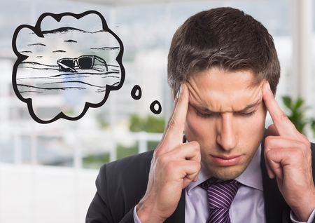 Digital composite of Frustrated business man dreaming of beach against blurry office Stock Photo