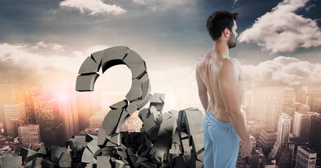 Digital composite of Broken concrete stone with Question symbol and man in cityscape