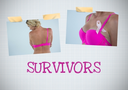 Digital composite of Survivors text and Breast Cancer Awareness Photo Collage