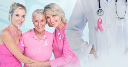 Digital composite of Breast cancer doctor and women with pink awareness ribbons