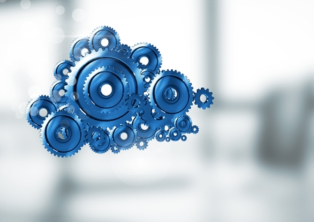 Digital composite of cog gears cloud with bright background