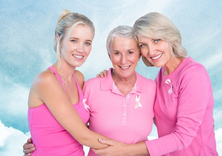 Digital composite of Breast cancer women with sky clouds background Imagens - 86937563