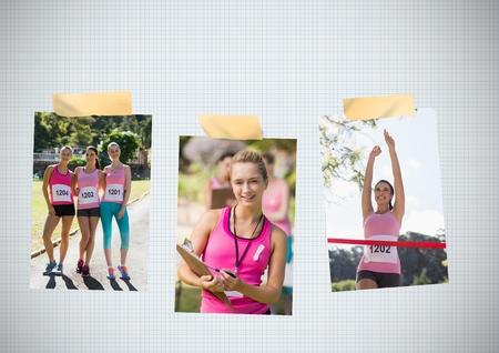 Digital composite of Breast Cancer Awareness Photo Collage of womens marathon run