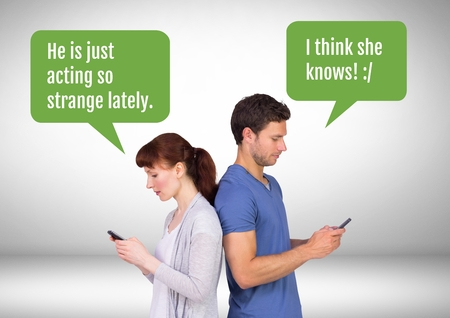 Digital composite of Couple texting about cheating