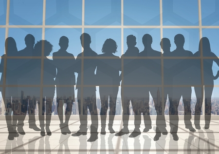 overlook: Digital composite of Silhouette of group of people with transition background