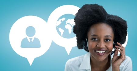 Digital composite of Happy customer care assistant woman against customer care background Stock Photo