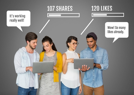girl laptop: Digital composite of People on laptops with shares and likes Social media interfaces Stock Photo