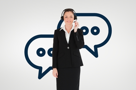 Digital composite of Customer care assistant woman against customer care background
