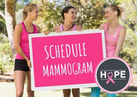 Digital composite of Schedule mammogram and pink breast cancer awareness women holding card Reklamní fotografie