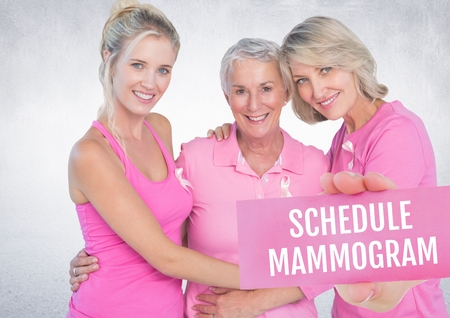 Digital composite of Schedule mammogram Text and Hand holding card with pink breast cancer awareness women