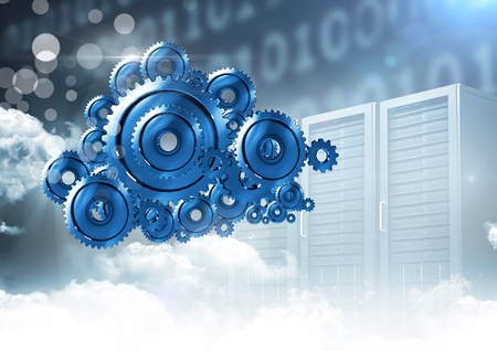 Digital composite of 3D cog gears cloud with servers in background Banco de Imagens