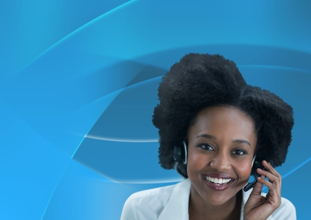 Digital composite of Customer care service woman with blue background