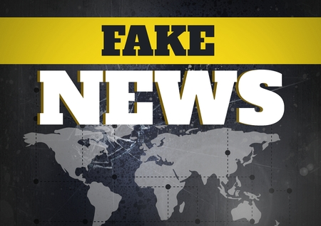 Digital composite of Fake news text in front of world map