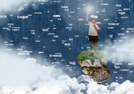Digital composite of Young child wearing virtual reality headset on floating rock platform  in sky with word connectors i