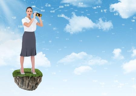 Digital composite of Businesswoman with binoculars on floating rock platform in sky