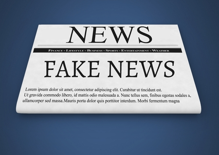 Digital composite of Fake news text on newspaper