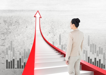 Digital composite of businesswoman walking on red arrow stairs