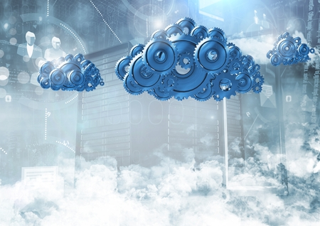 Digital composite of 3D cog gears clouds with servers in background