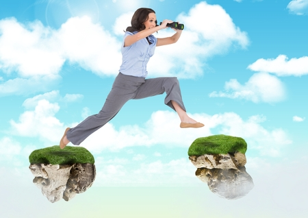 Digital composite of Businessman with binoculars jumping between floating rock platforms in sky