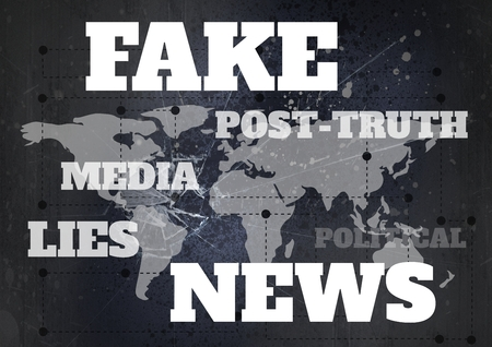 smashed: Digital composite of Fake news and associated text over world map Stock Photo