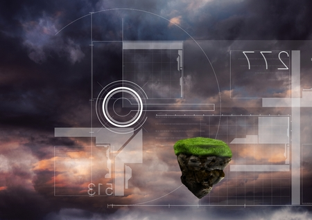 plant stand: Digital composite of Floating rock platform with futuristic interface and sky clouds