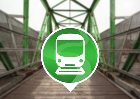 Digital composite of train icon on railway track