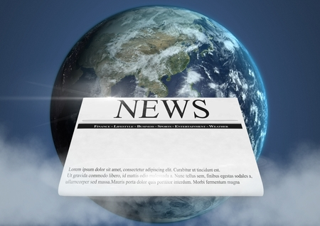 plant stand: Digital composite of Newspaper in front of planet earth world