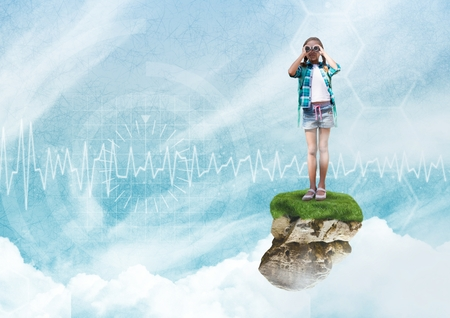 Digital composite of Young Girl on floating rock platform  in sky with binoculars with interface Stock Photo