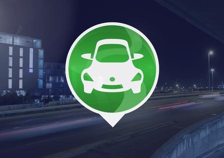 市内道路上の車のアイコンのデジタル合成