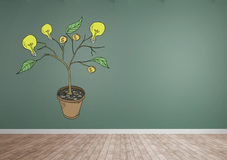 Digital composite of Drawing of Money and idea graphics on plant branches on wall Stock Photo
