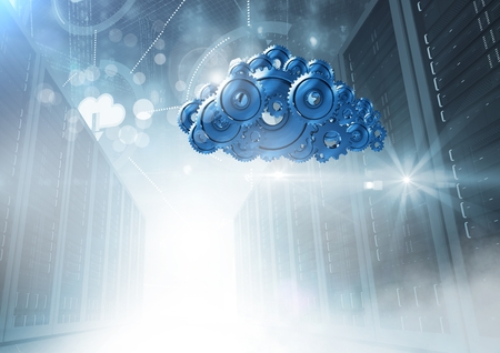 Digital composite of 3D cog gears cloud with servers in background Stock Photo