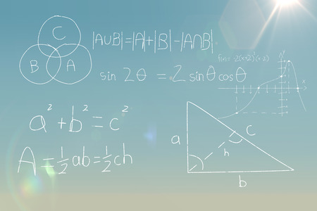 Panoramic shot of calculations against black background against blue sky