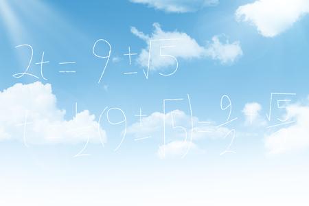 Mathematics over blackboard against blue sky
