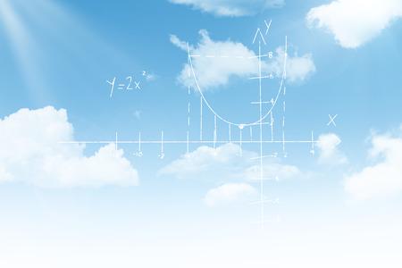 Maths pattern against black background against blue sky