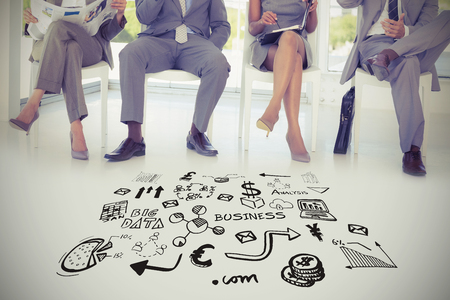 Composite image of various business icons against business people sitting on chairs Stock Photo