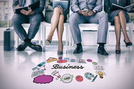 Business people waiting to be called into interview against multi colored business text surrounded by various icons