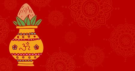 Digital composite of Om Diwali background, wide Stock Photo