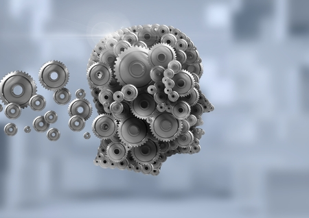 Digital composite of Cog head with bright background