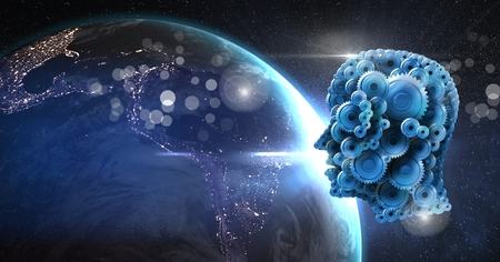 Digital composite of Cog head in space with planet earth