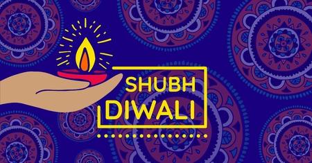 Digital composite of Shubh Diwali, wide Stock Photo