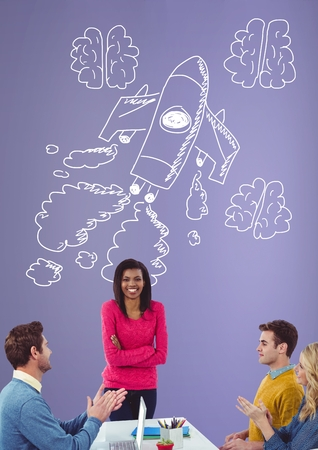 Digital composite of Creative people with hand-drawn rocket and brains
