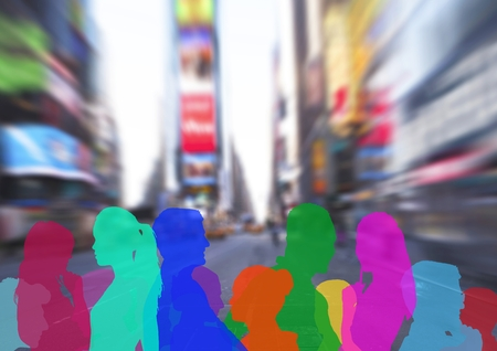 Digital composite of color silhouette of people on street