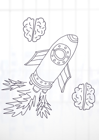 Digital composite of hand-drawn rocket and brain with bright background