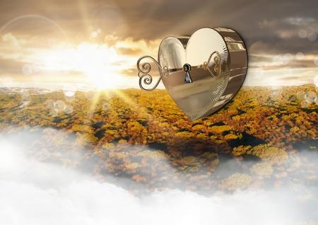 Digital composite of 3D Heart box Key floating over landscape sunset