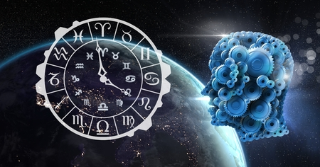 zodiac aquarius: Digital composite of Cog head and astrology horoscope in space